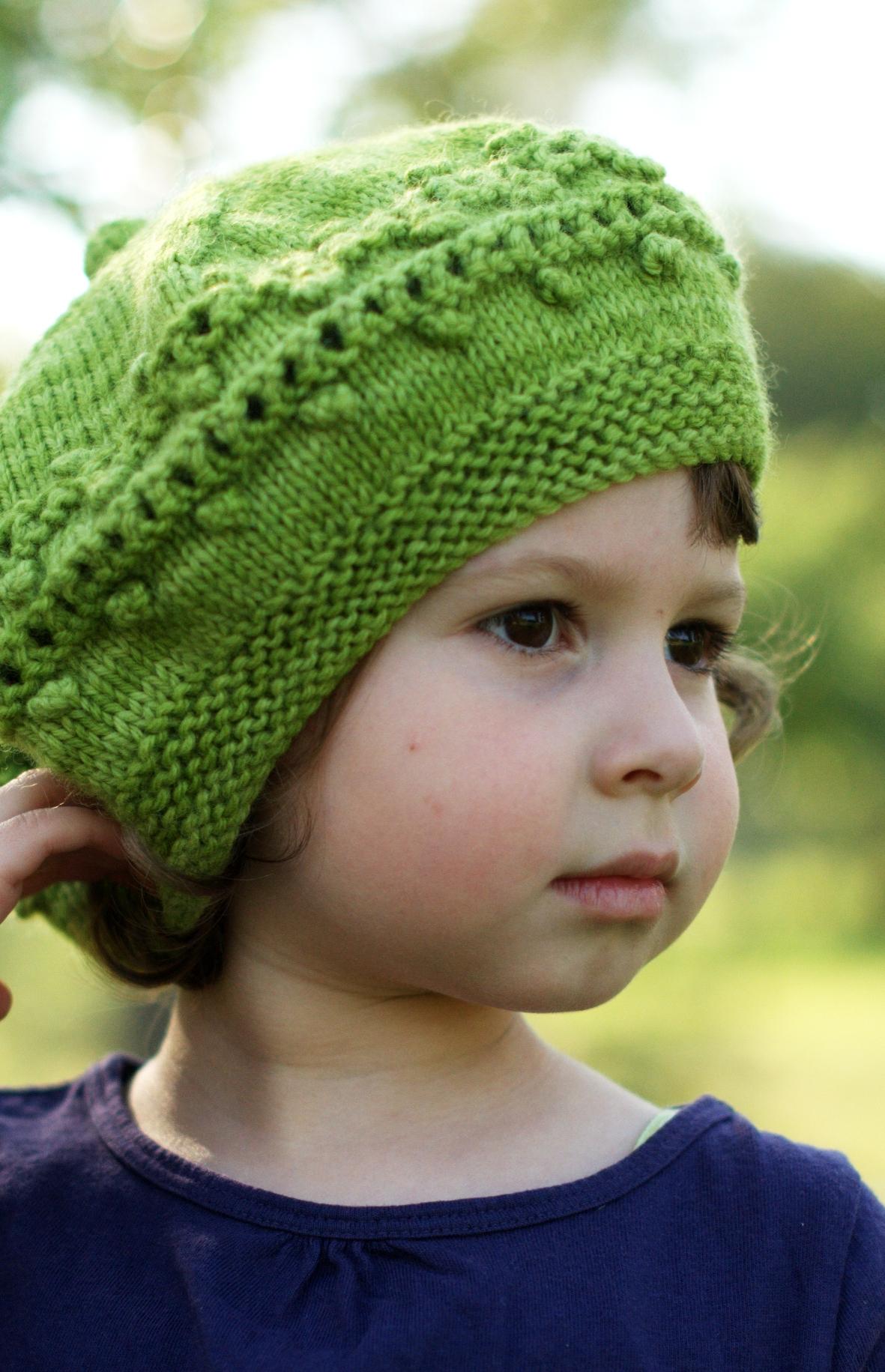 Aurora lace and bobble beret knitting pattern