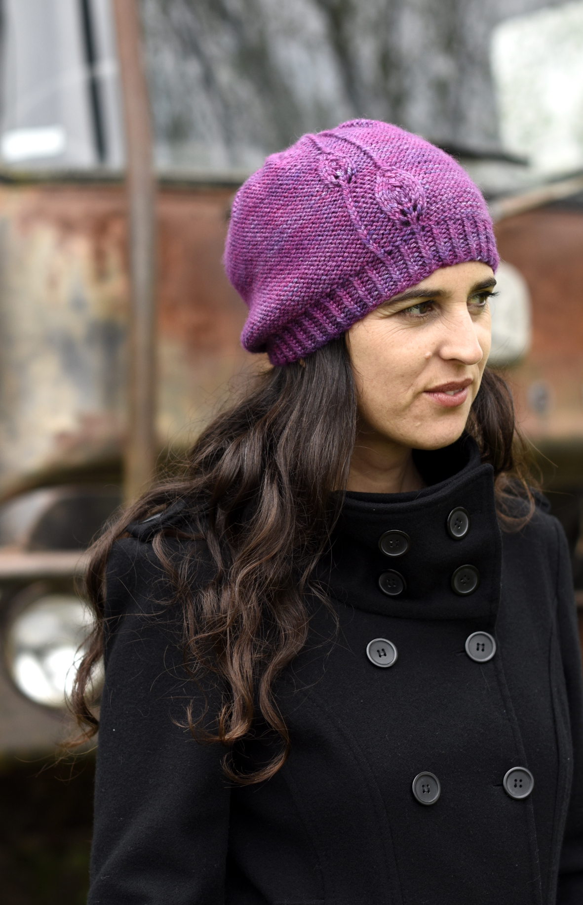 Fabales slouch Hat with lace leaf detail knitting pattern