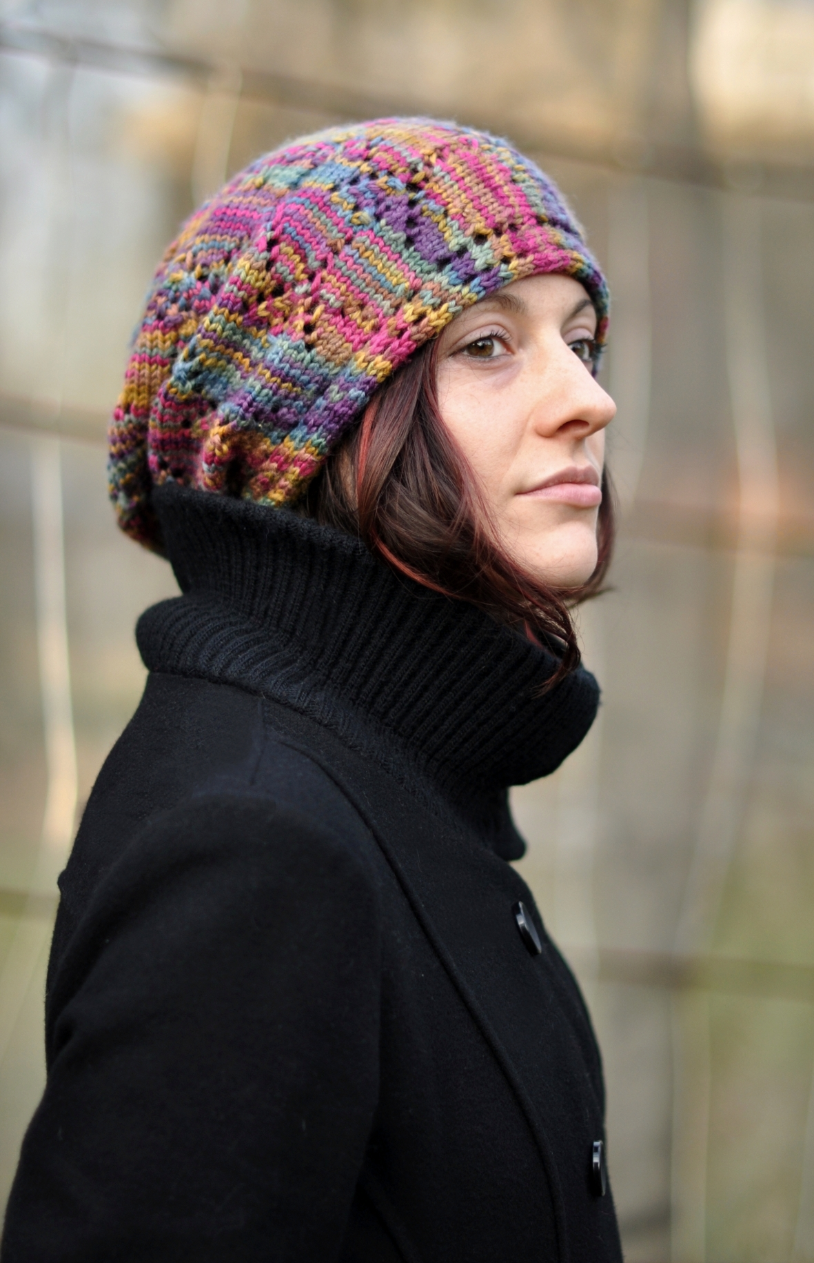 Ziggy sideways knit lace slouchy rasta Hat knitting pattern