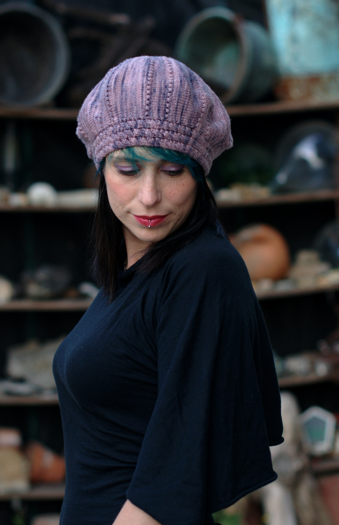 Arbacia sideways knit beret with cable and eyelet brim knitting pattern