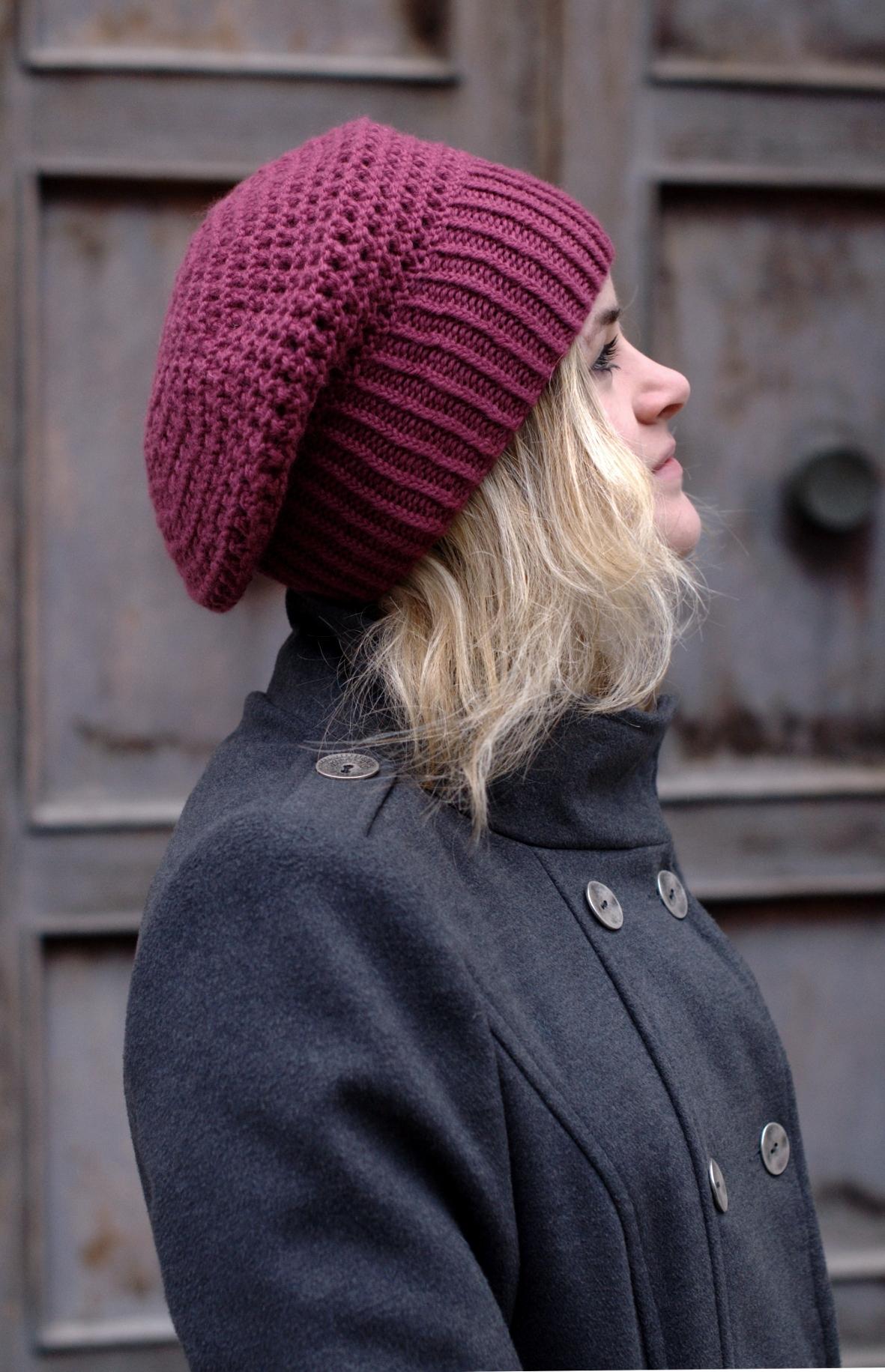 Waffle Slouch eyelet slouchy Hat knitting pattern