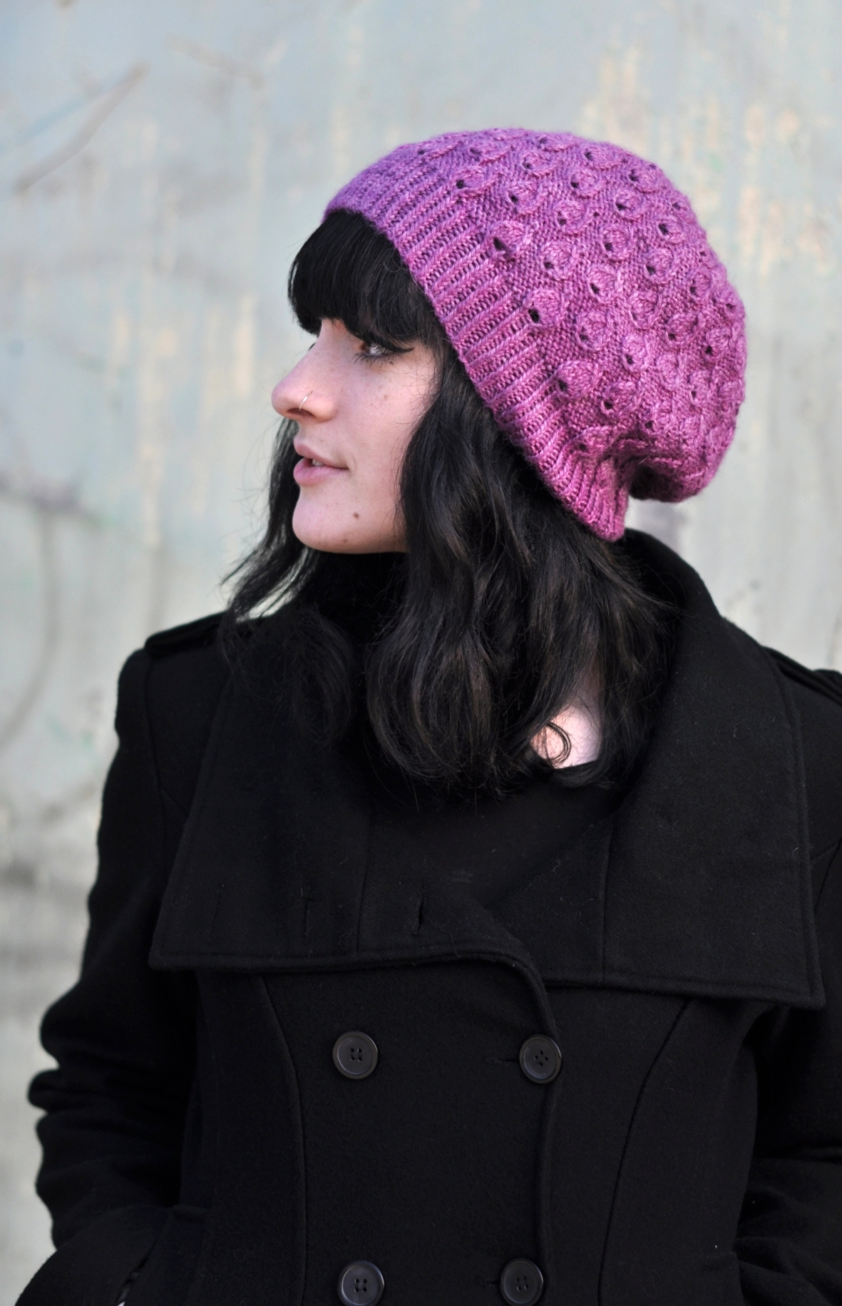 Pavone lace droplets slouchy Hat knitting pattern