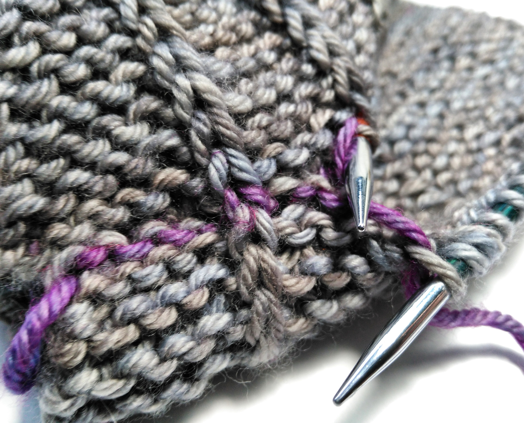 completed graft - slipped stitches over garter stitch