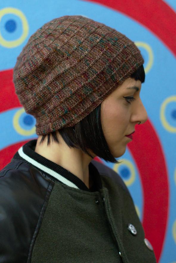 Circled 4 sideways knit slipped stitch slouchy Hat knitting pattern