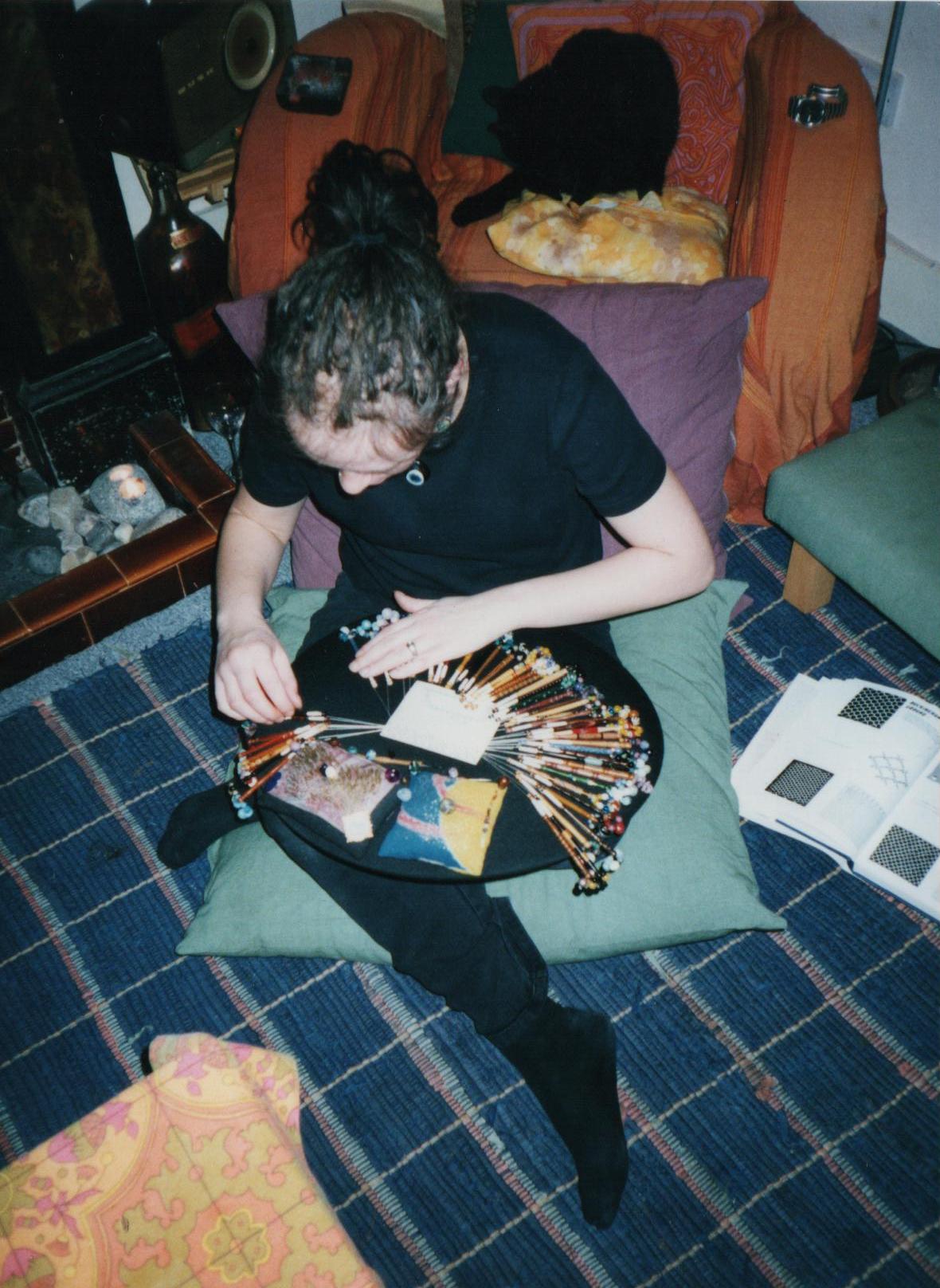 me, circa 1997/8? making torchon lace