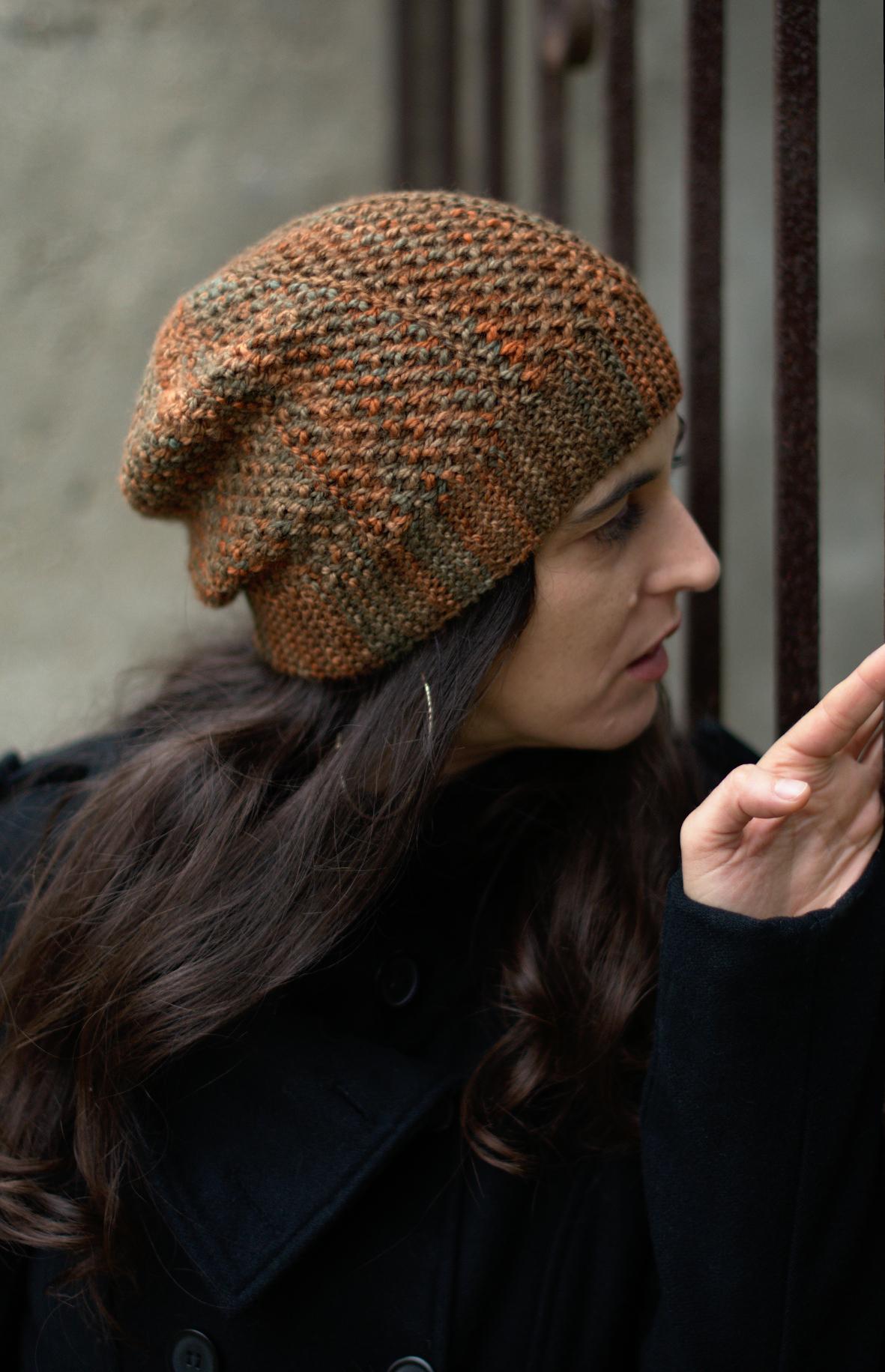 Muratura sideways knit brioche slouch Hat knitting pattern