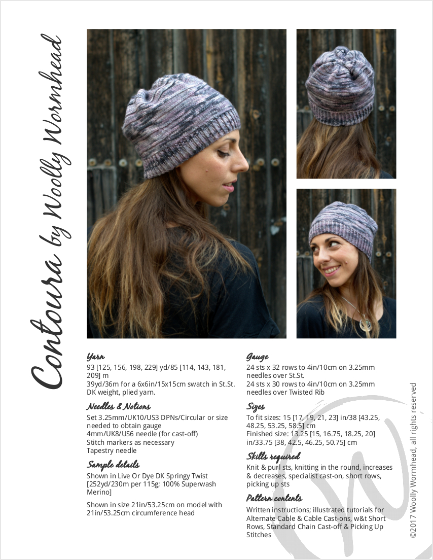 Contoura hand knitted Hat pattern featuring short rows