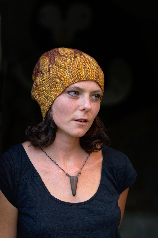 Azula sideways knit short row colourwork hand knitted Hat pattern