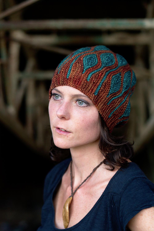 Toph sideways knit short row colourwork hand knitted Hat pattern