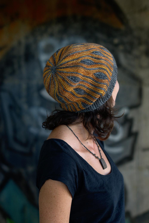Korra sideways knit short row colourwork hand knitted Hat pattern