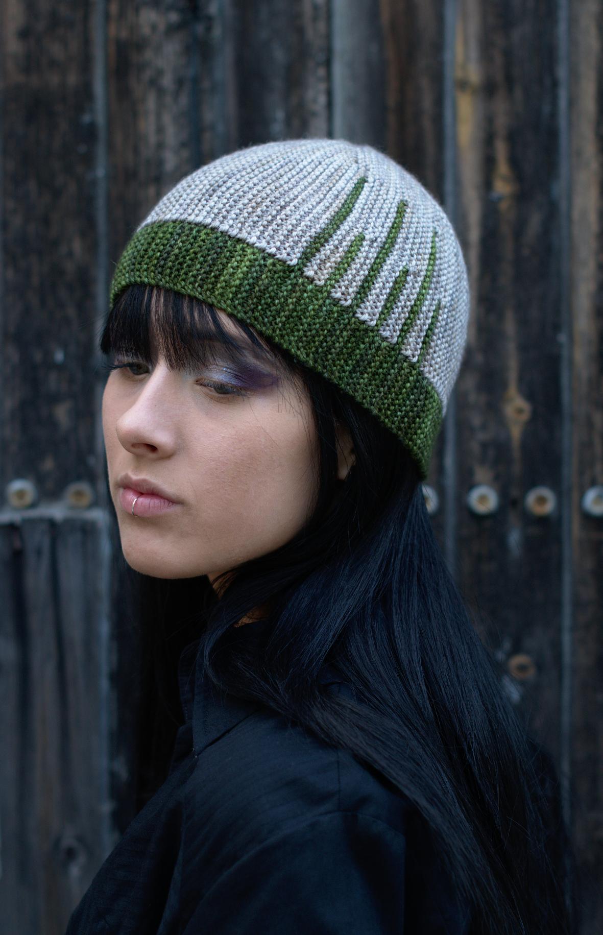 Parallelo sideways knit short row colourwork hand knitted Hat pattern
