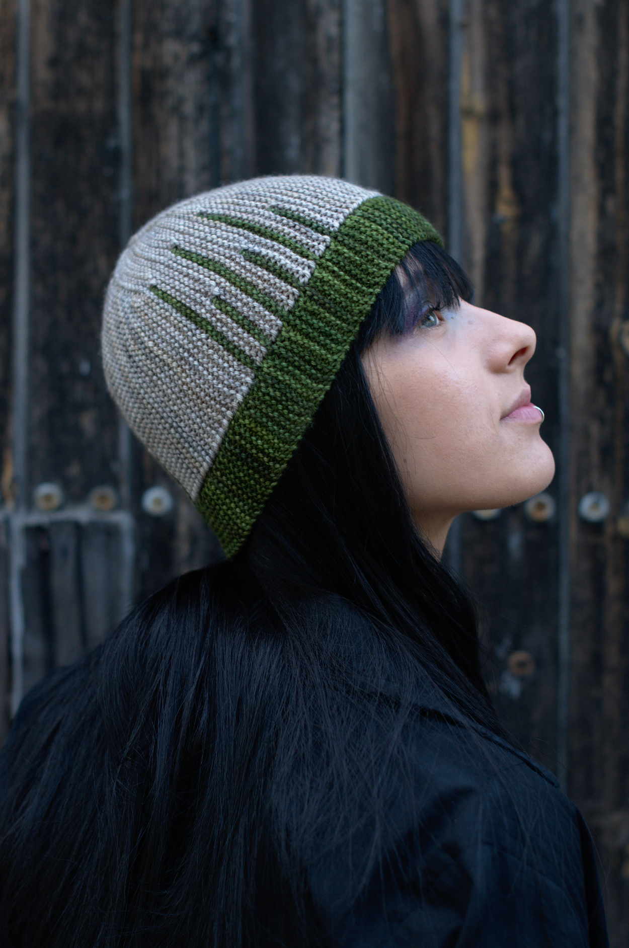 Parallelo sideways knit short row colourwork hand knitted Hat pattern