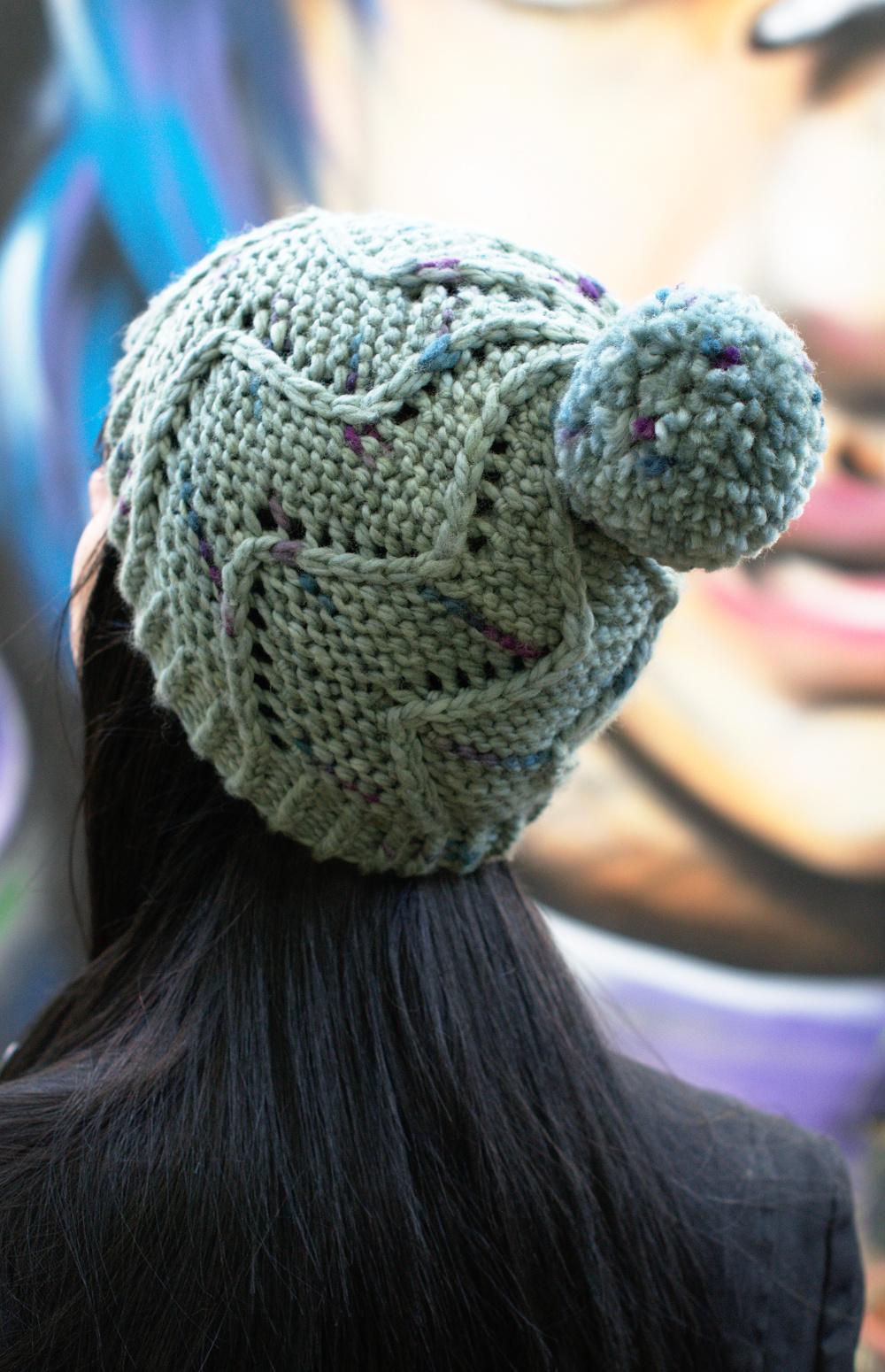 Cirro chunky spiral bobble Hat knitting pattern for Craftsy Cloudborn Fibers yarn
