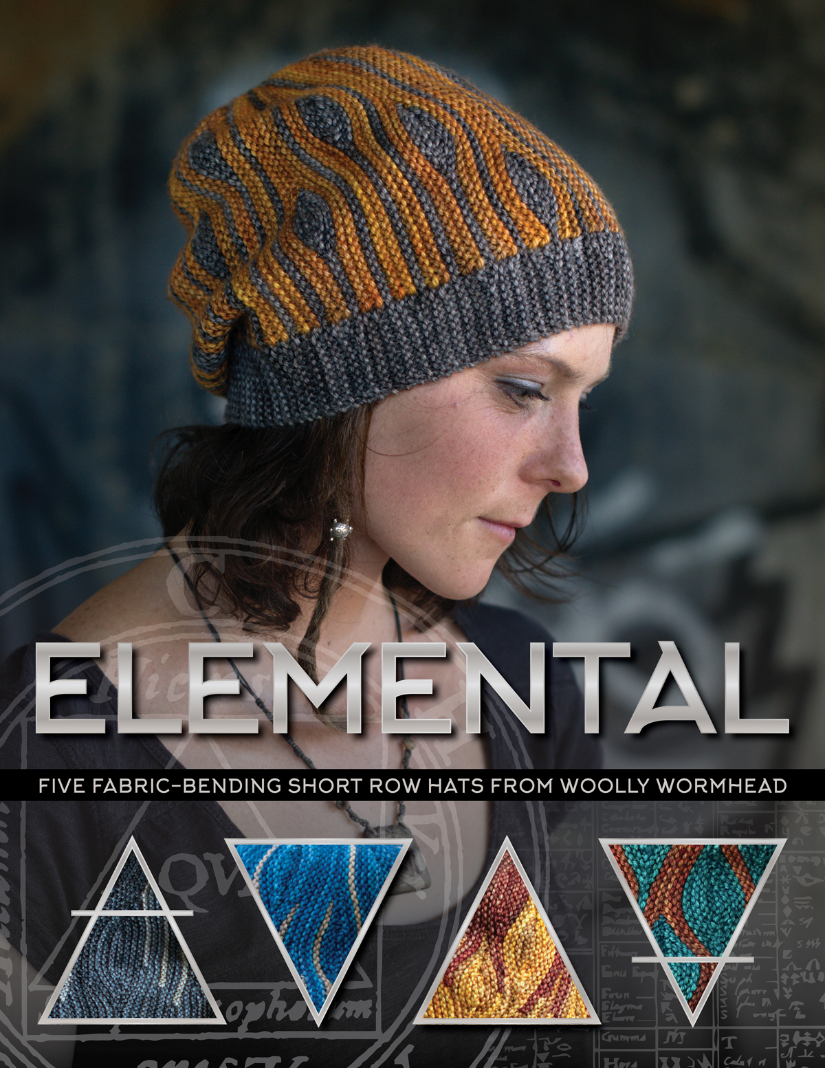Elemental collection of sideways knit short row colourwork hats