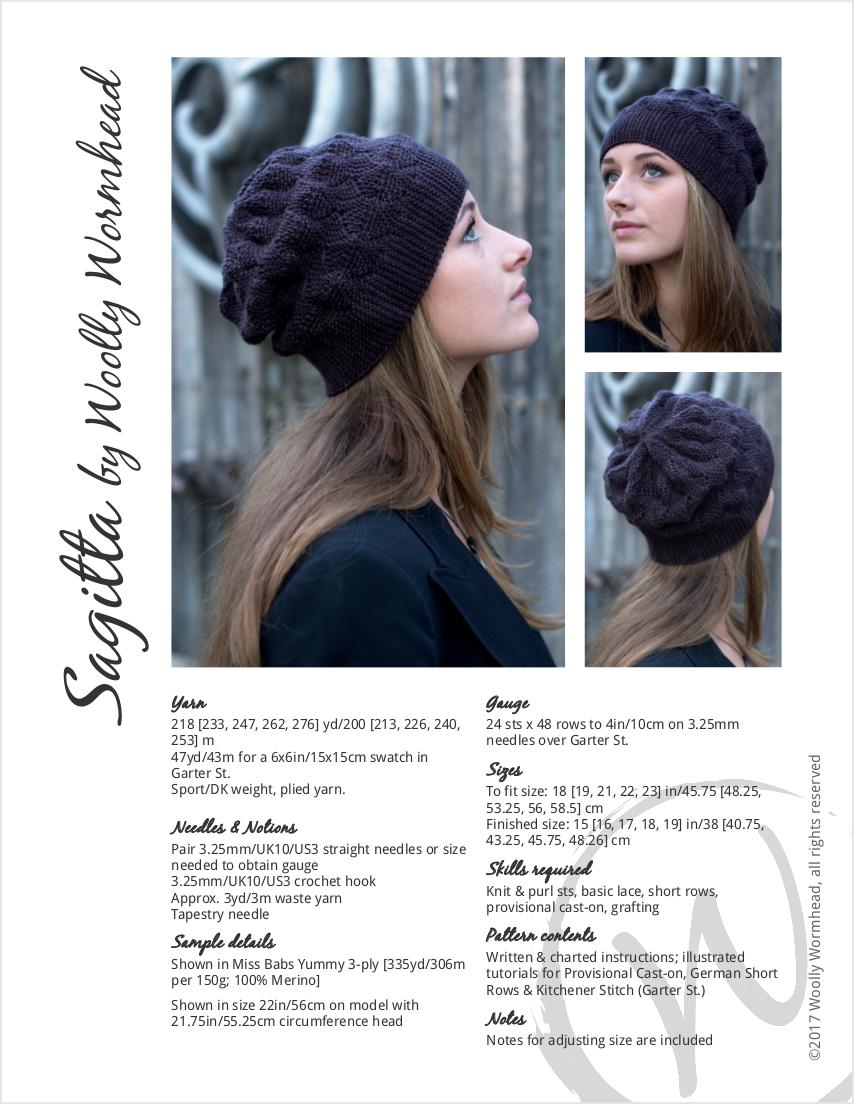 Sagitta sideways knit short row slouchy Hat knitting pattern