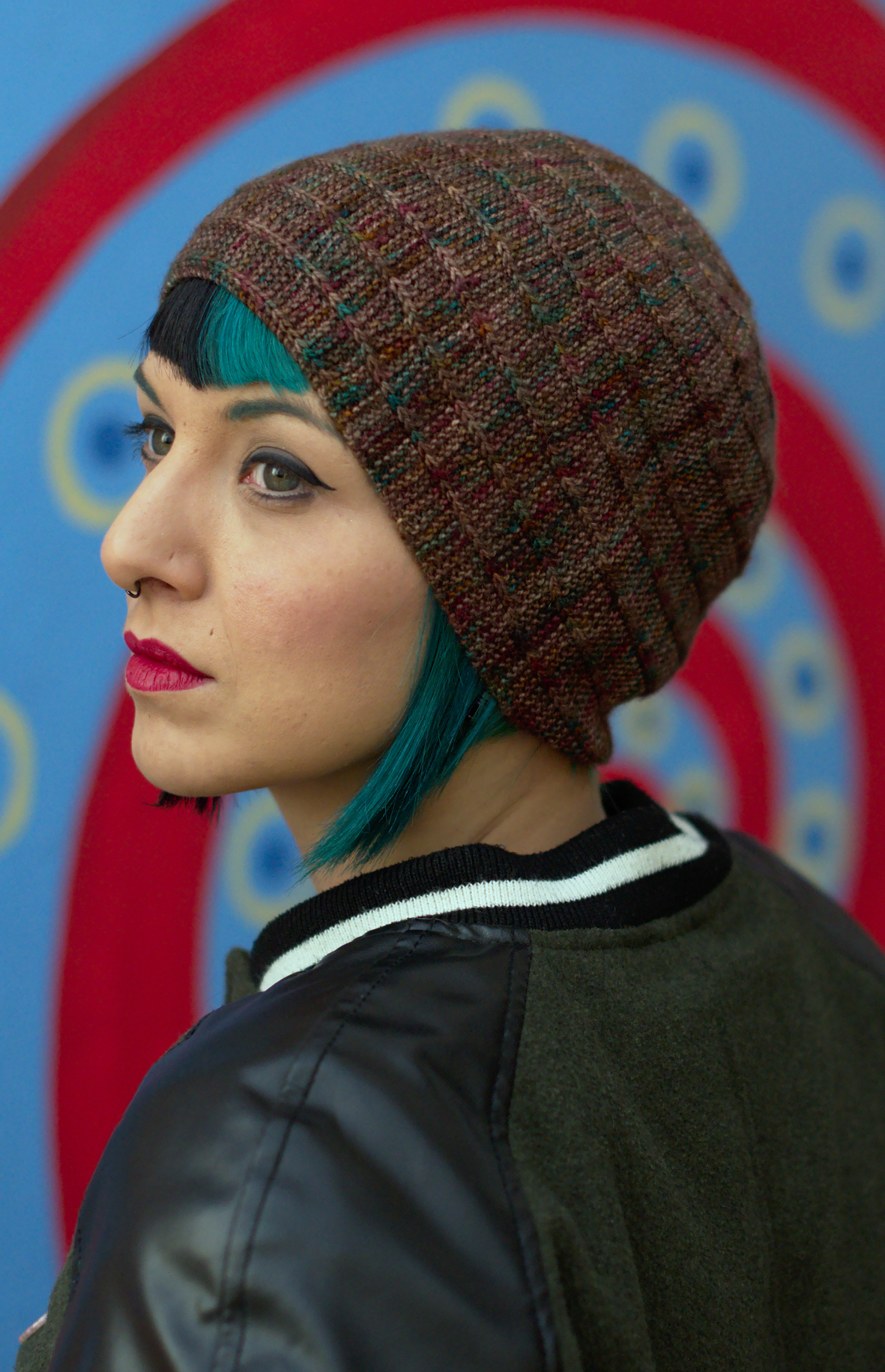 Circled 4 sideways knit Hat knitting pattern with top down spiral