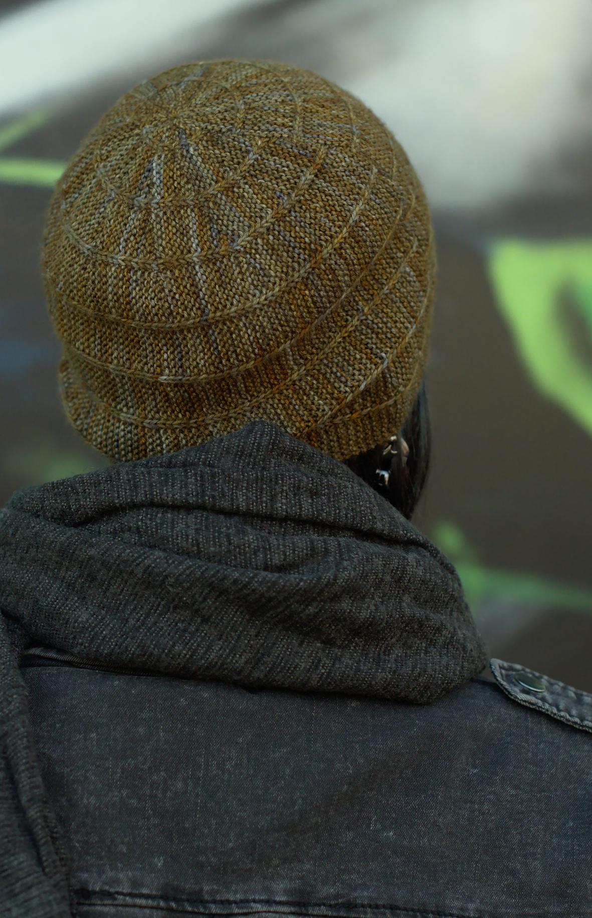 Circled 3 sideways knit Hat knitting pattern featuring negative semi circles