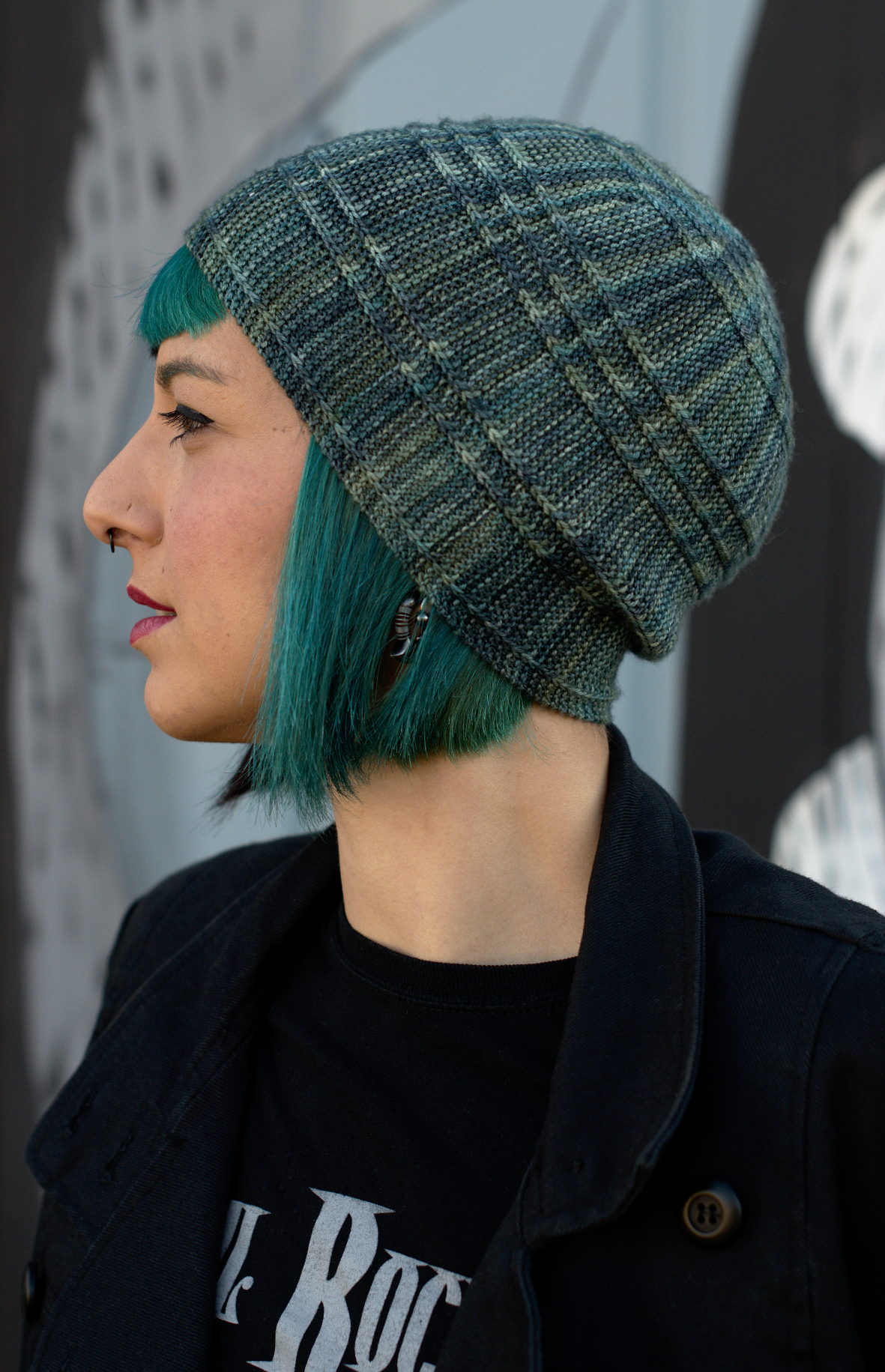 Circled 2 sideways knit Hat knitting pattern with fibonacci offset rings