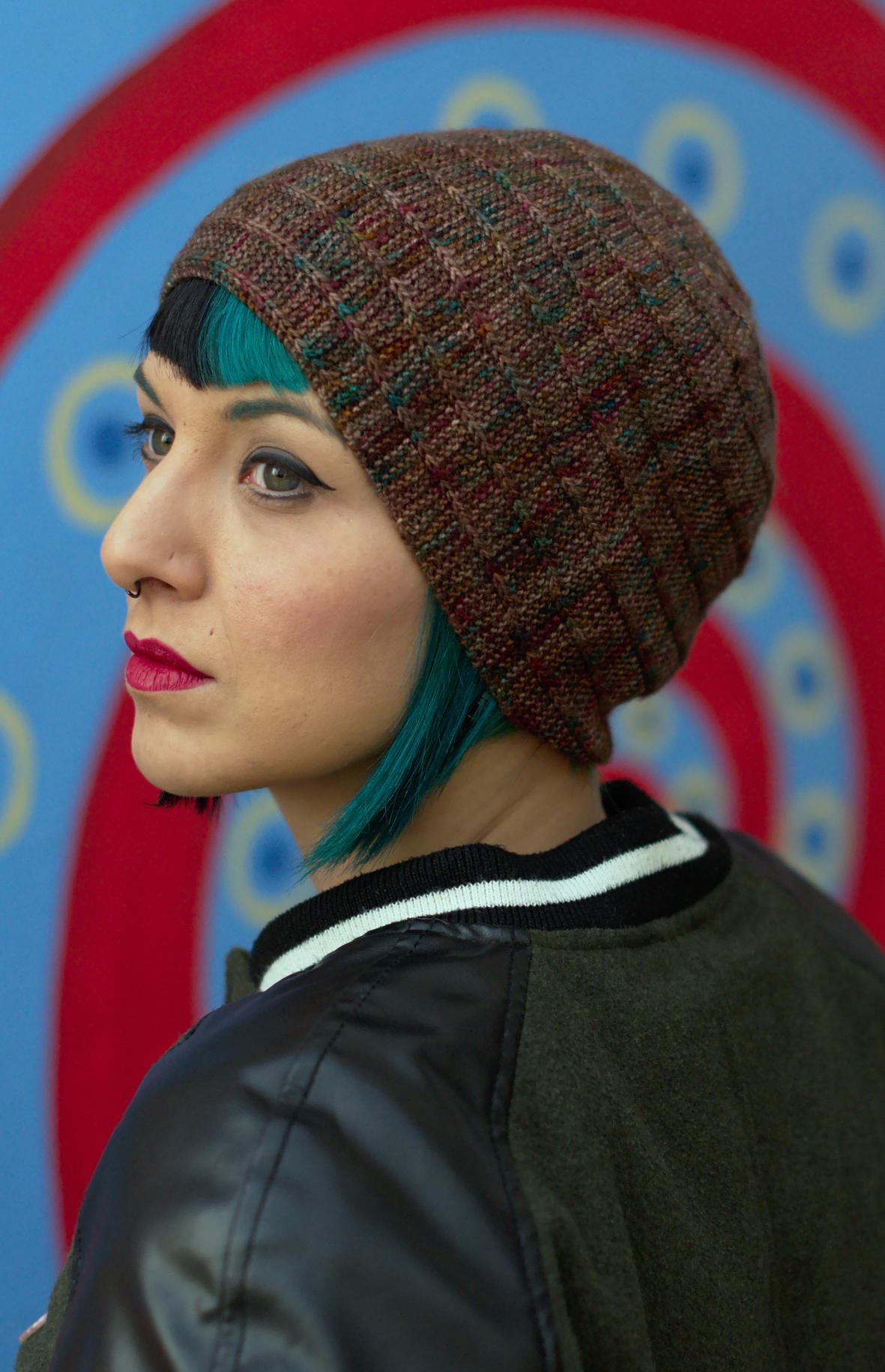 Circled 4 sideways knit Hat knitting pattern featuring top down spiral