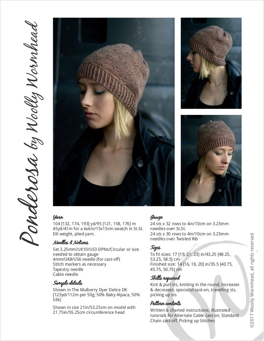 Ponderosa slouchy hat hand knitting pattern for DK yarn