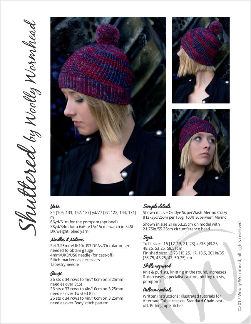 Shuttered textured beanie Hat hand knitting pattern
