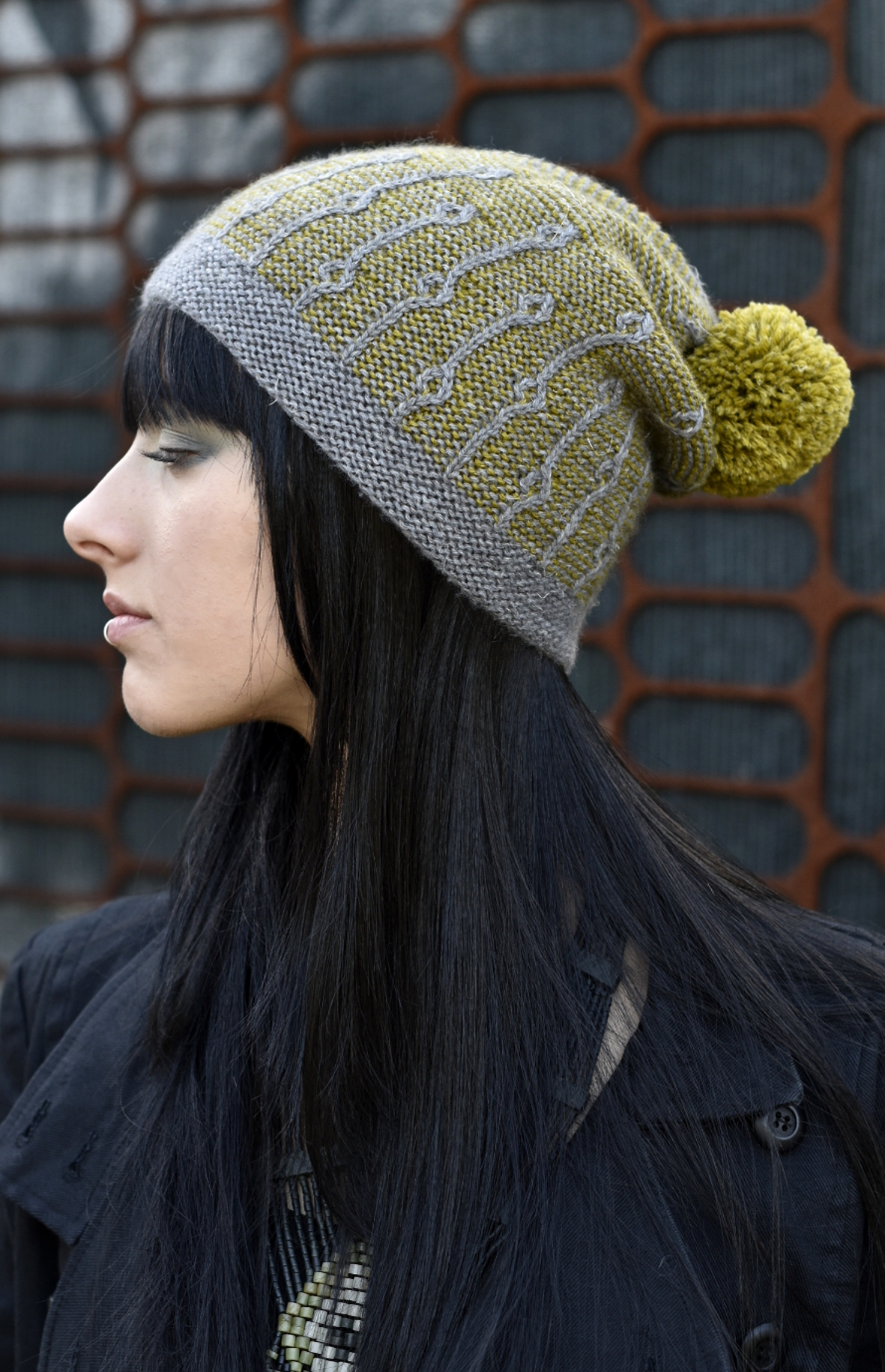 Joyce hand knit slouch beanie hat in two colours