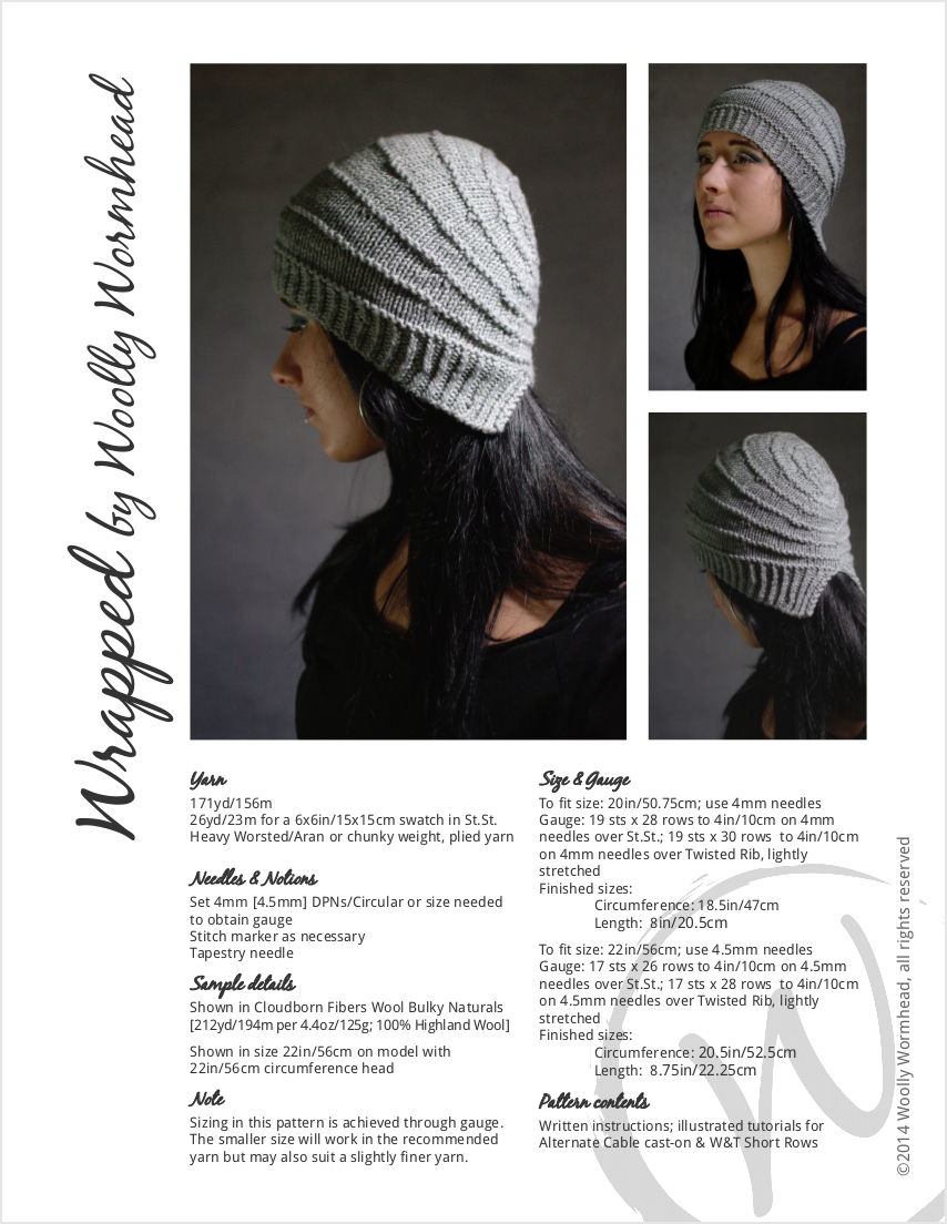 Wrapped cloche style Hat hand knitting pattern