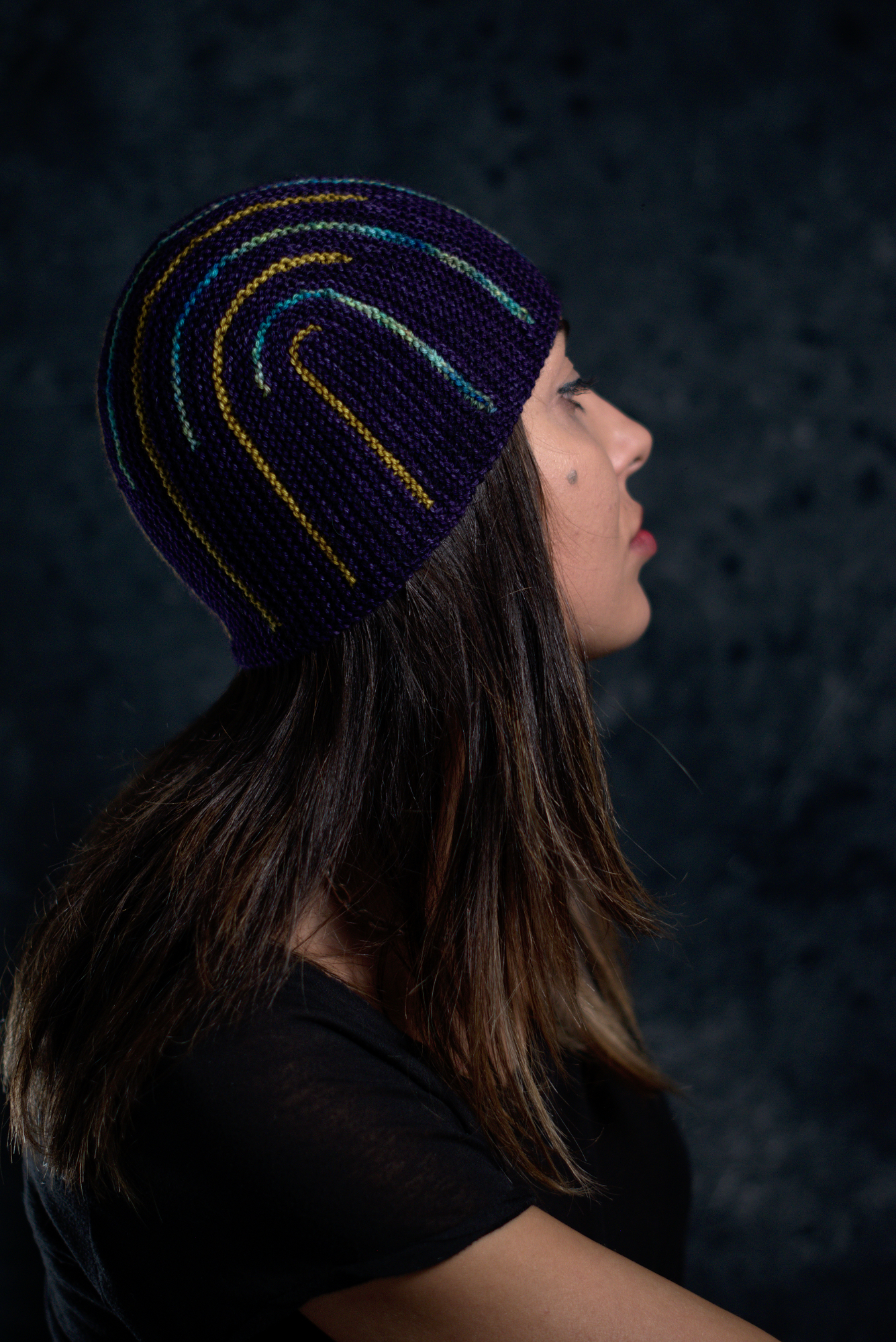 Duality sideways knit short row colourwork hat knitting pattern