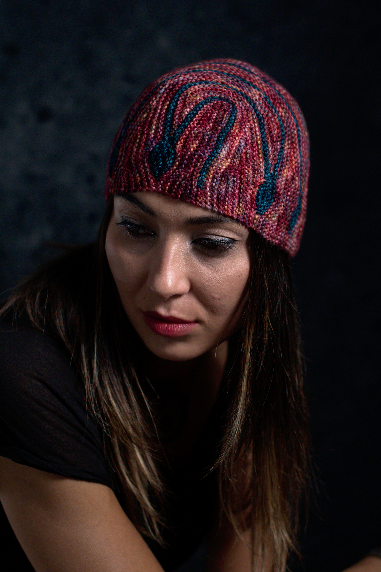 Oscillare sideways knit short row colourwork hat knitting pattern
