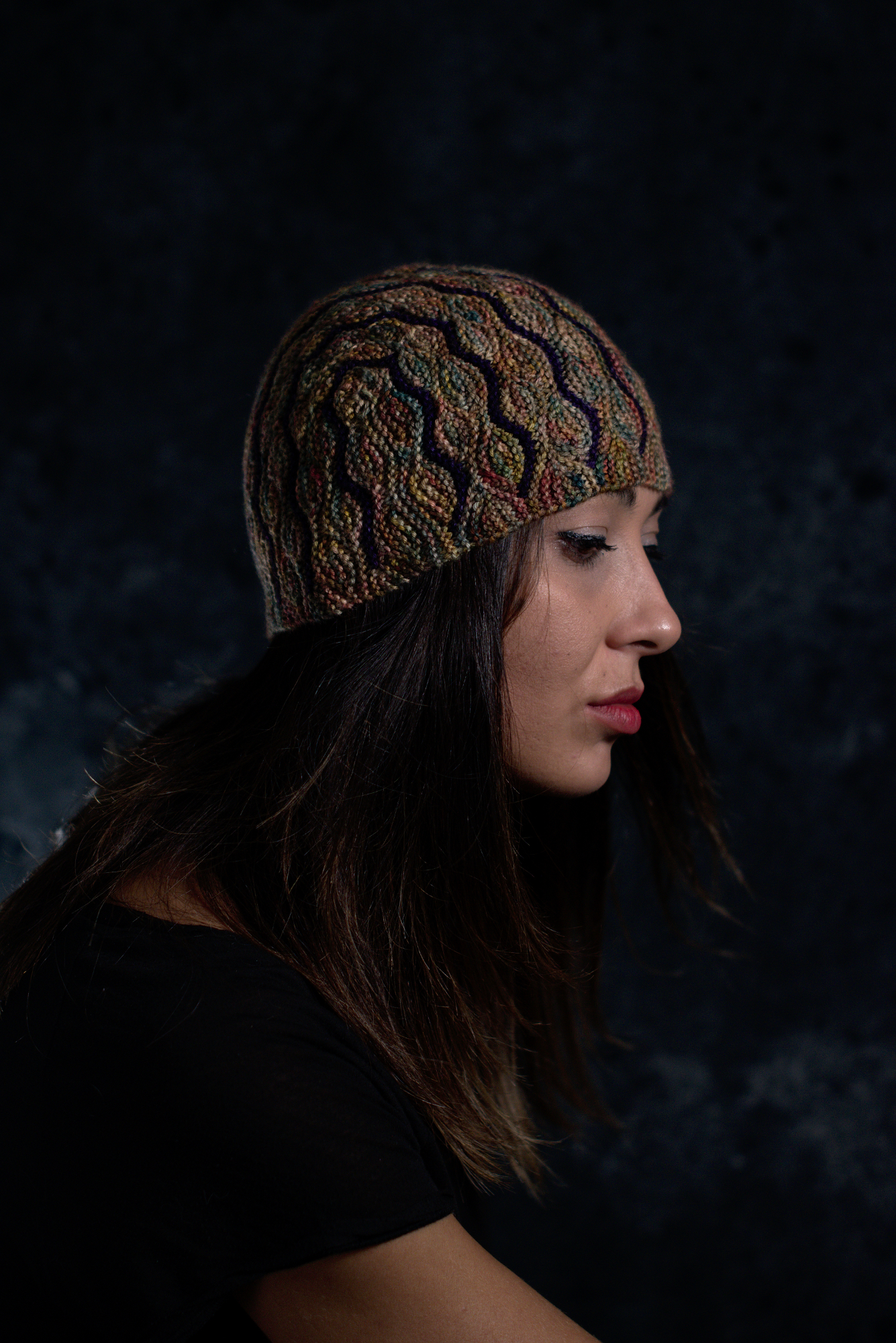 Undulous sideways knit short row striped hat knitting pattern