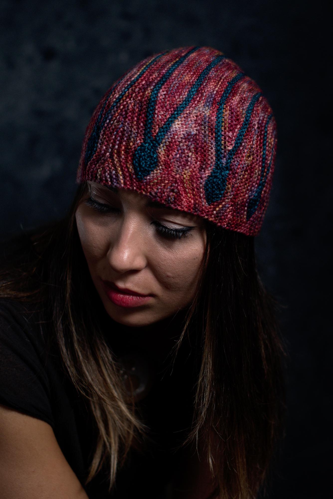 Oscillare sideways knit short row hat knitting pattern