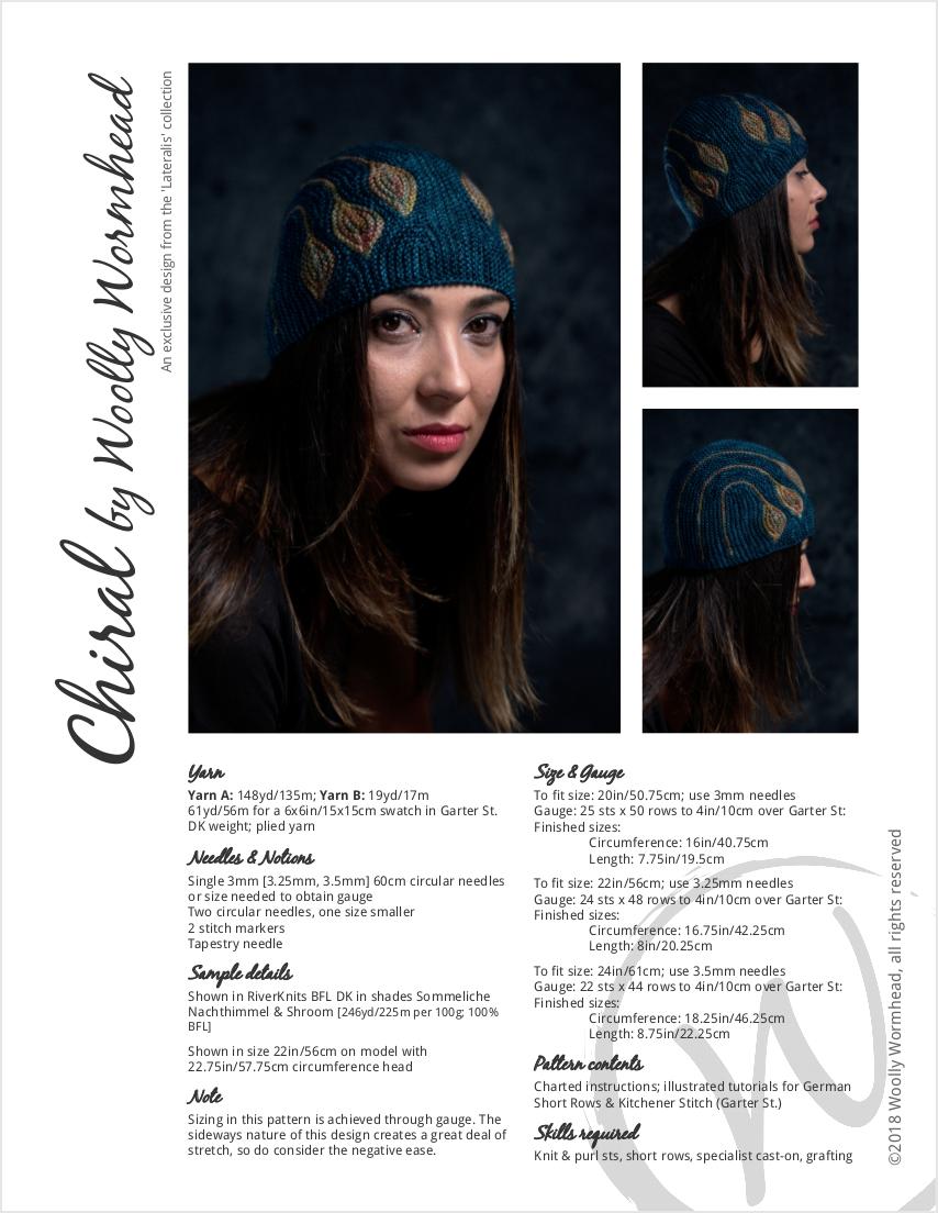 Chiral sideways knit short row hat knitting pattern