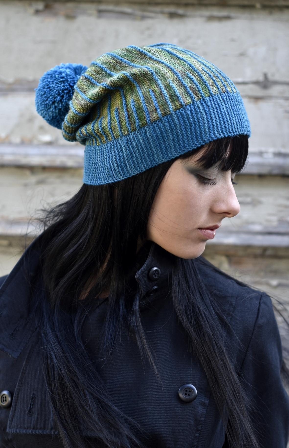 Misura sideways knit slouchy hat hand knitting pattern
