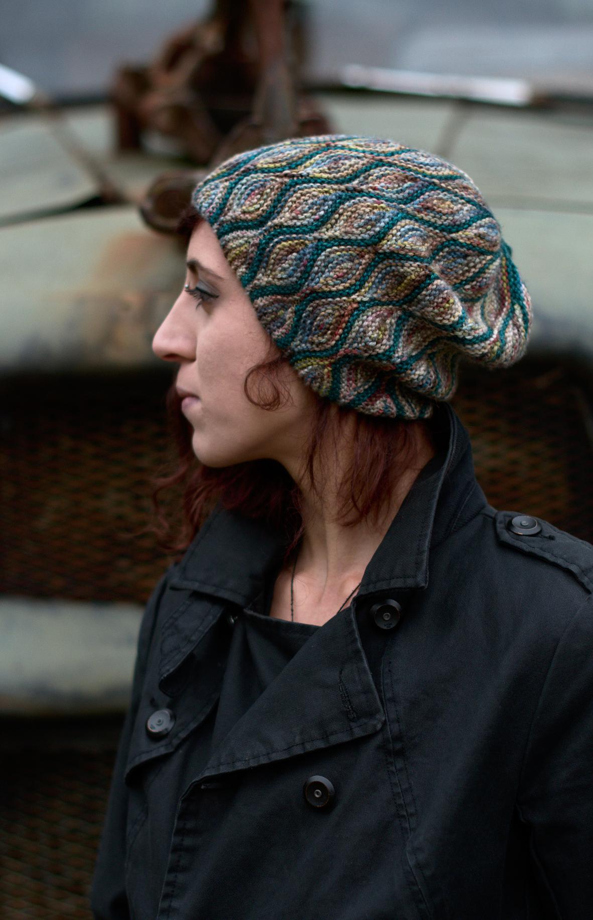 Rhinebeck hat sideways knit short row slouchy hat pattern