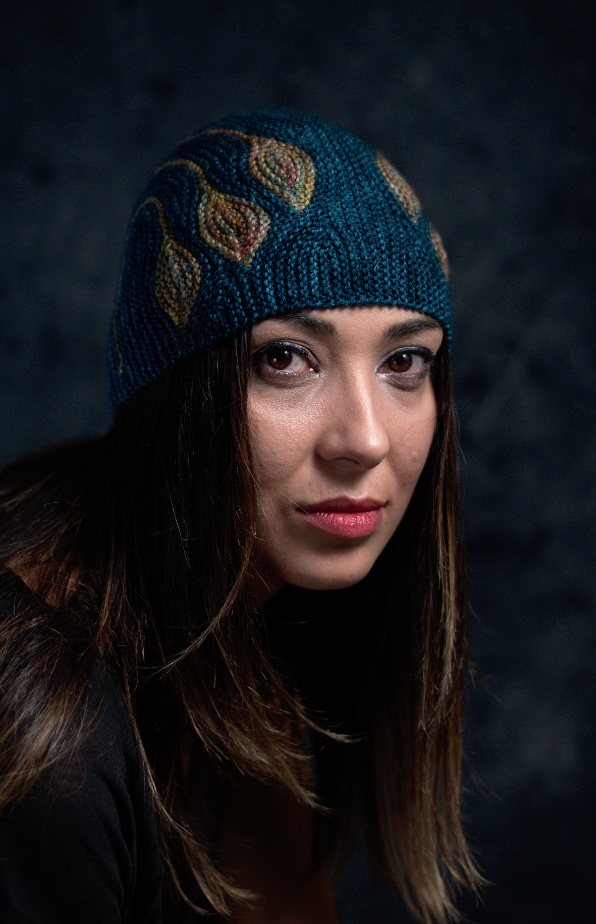 Chiral sideways knit short row colourwork hat hand knitting pattern