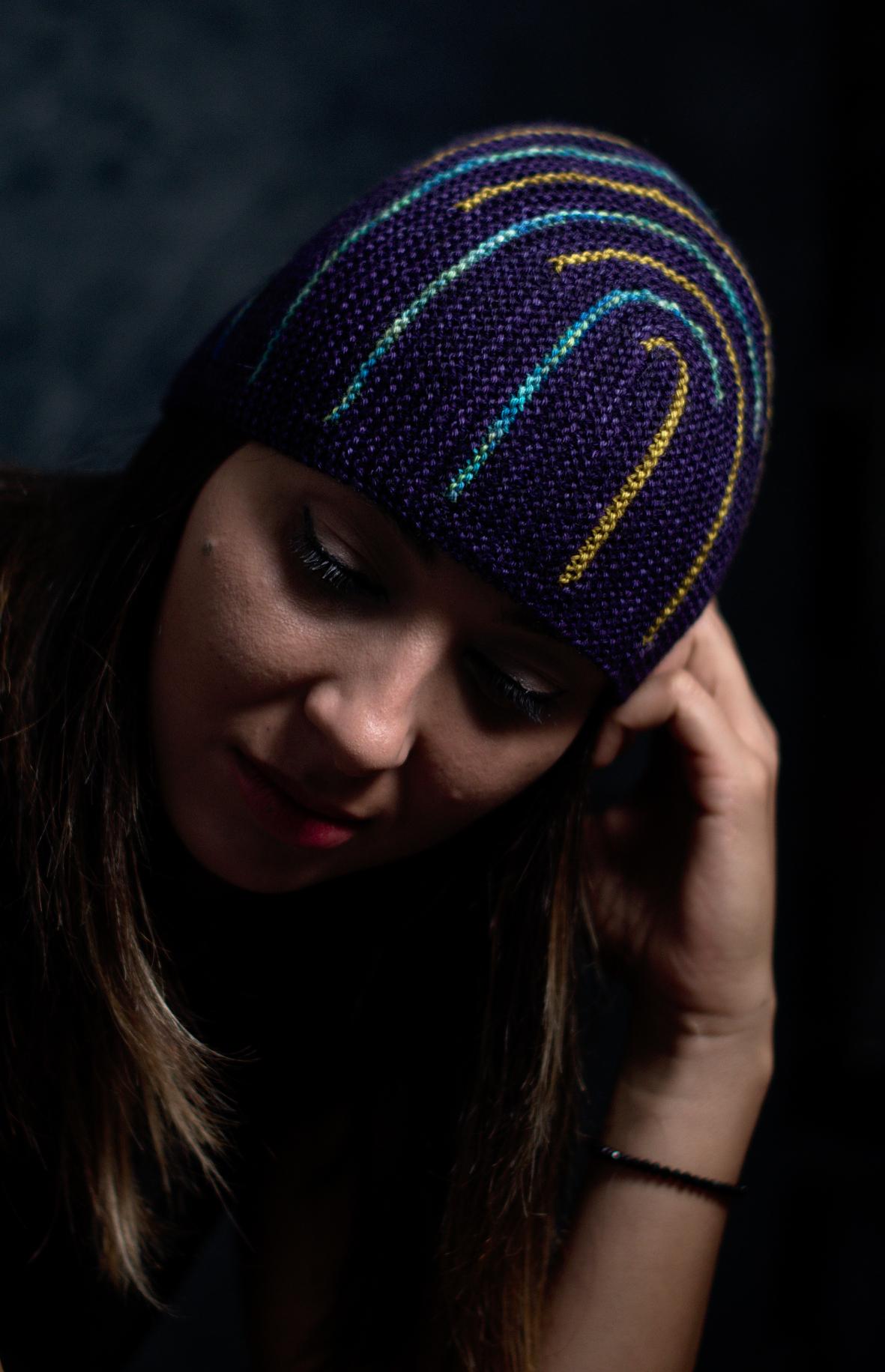 Duality sideways knit short row colourwork hat hand knitting pattern