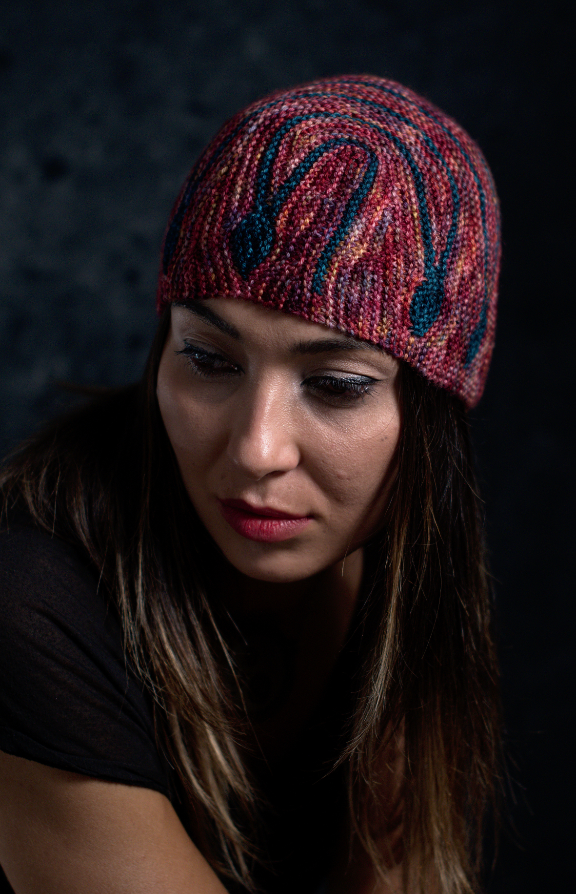 Oscillare sideways knit short row colourwork hat hand knitting pattern