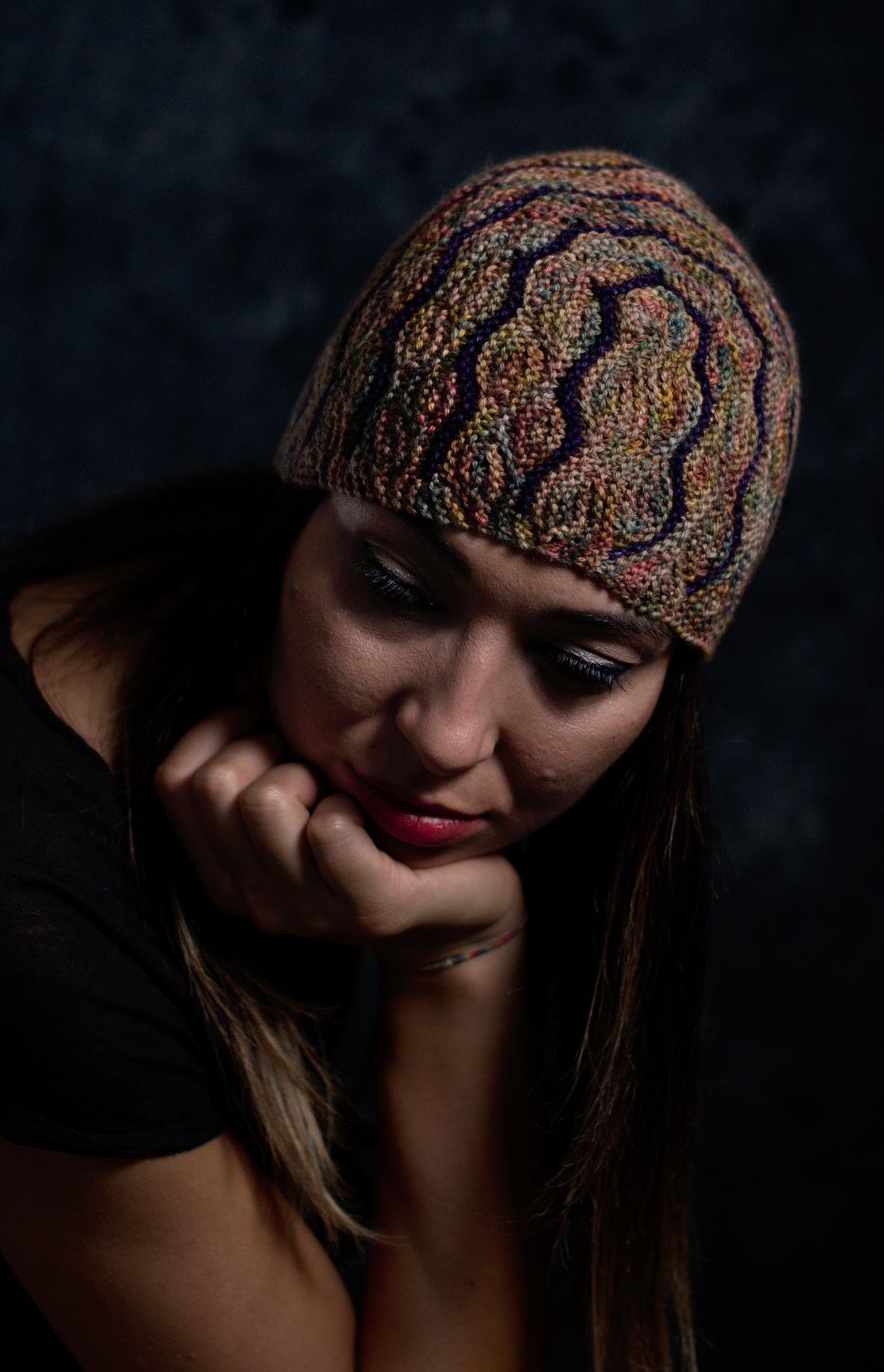 Undulous sideways knit short row colourwork hat hand knitting pattern