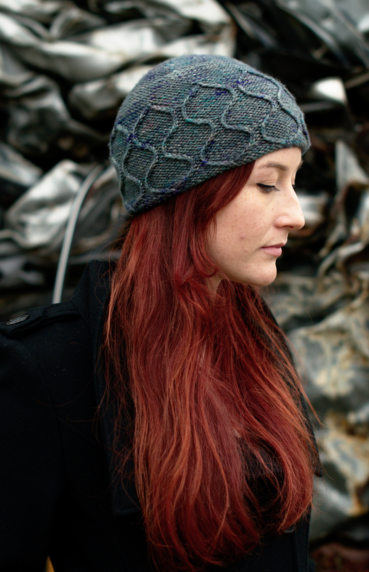 Filigree Beanie hand knitting hat pattern for worsted weight yarns