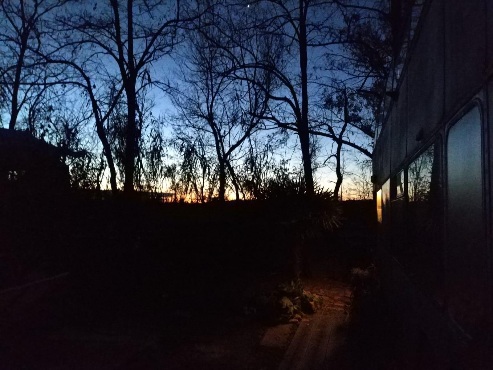 our bus at dawn