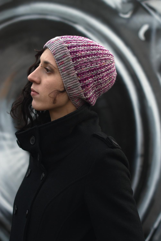 Matriks reversible sideways knit slouchy hat in two colours for dk yarn