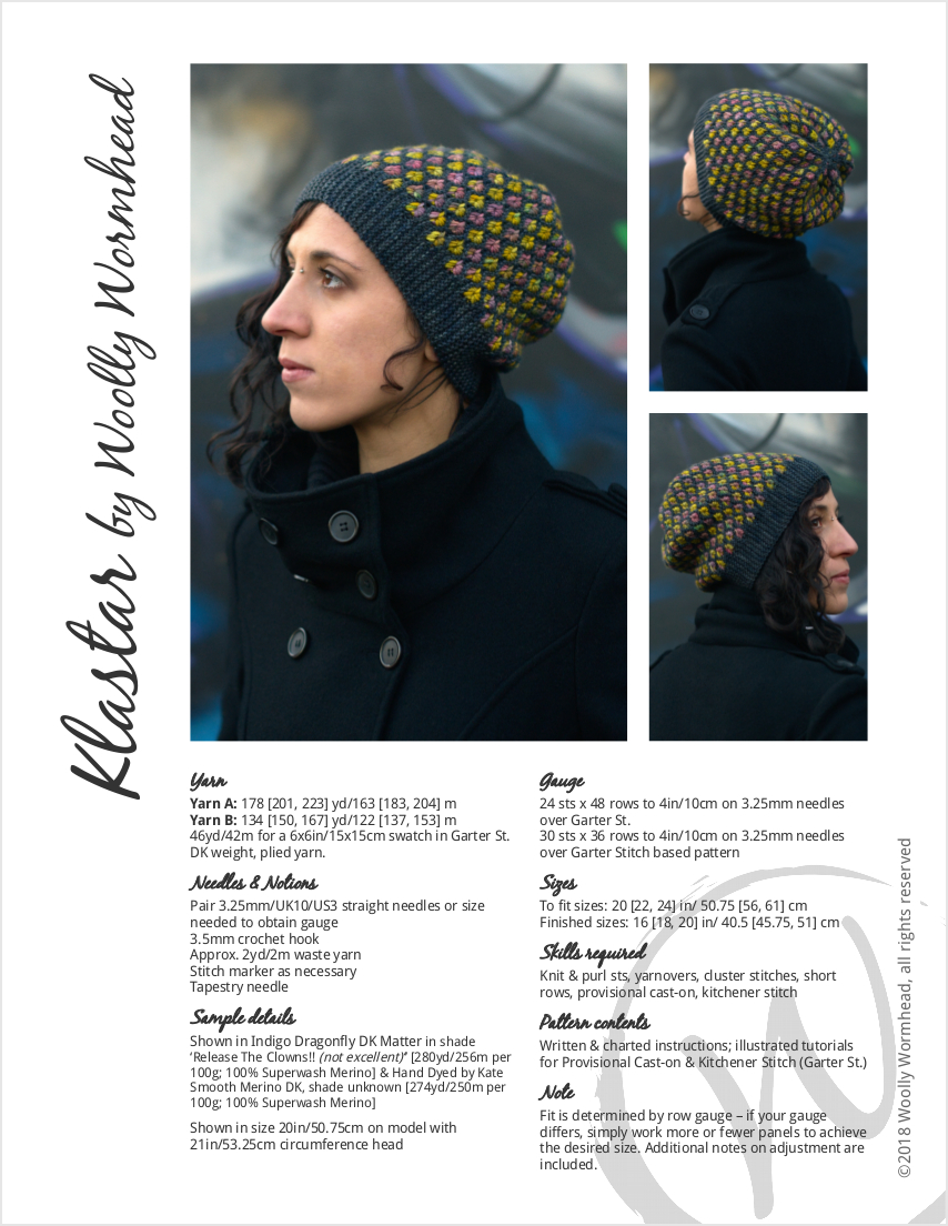 Klastar sideways knit reversible two colour slouchy hat for dk hand dyed yarns
