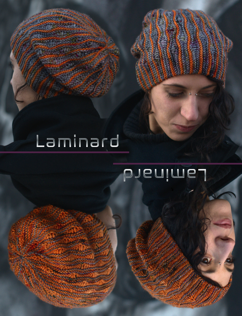 Laminard sideways knit slouchy Hat for hand dyed DK yarns