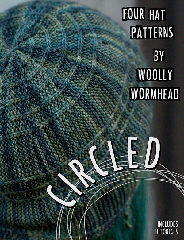 Circled eBook featuring 4 sideways knit Hats based upon the theme of circles and spirals