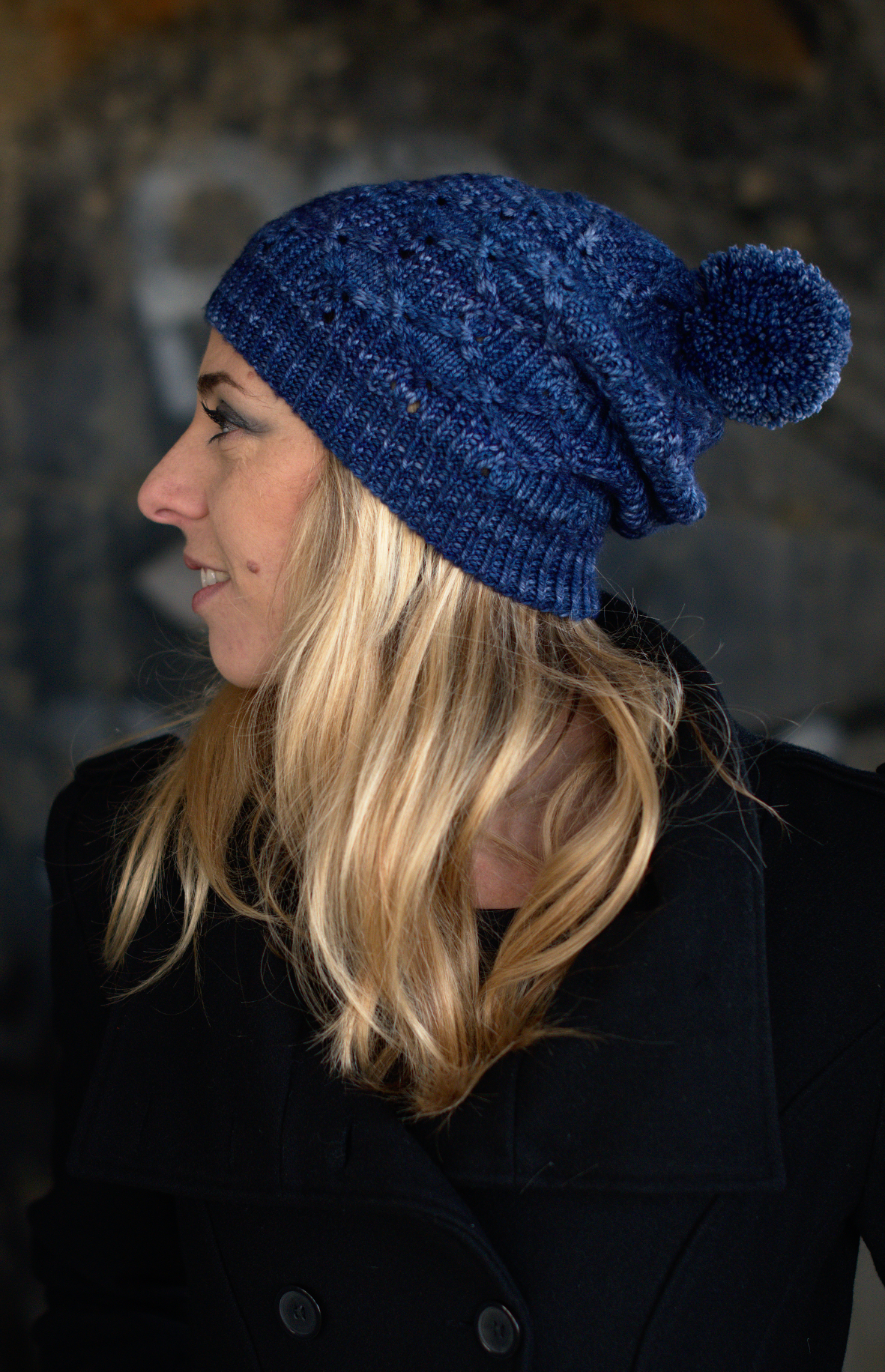 Losanga slouchy Hat hand knitting pattern for DK hand dyed wool yarn