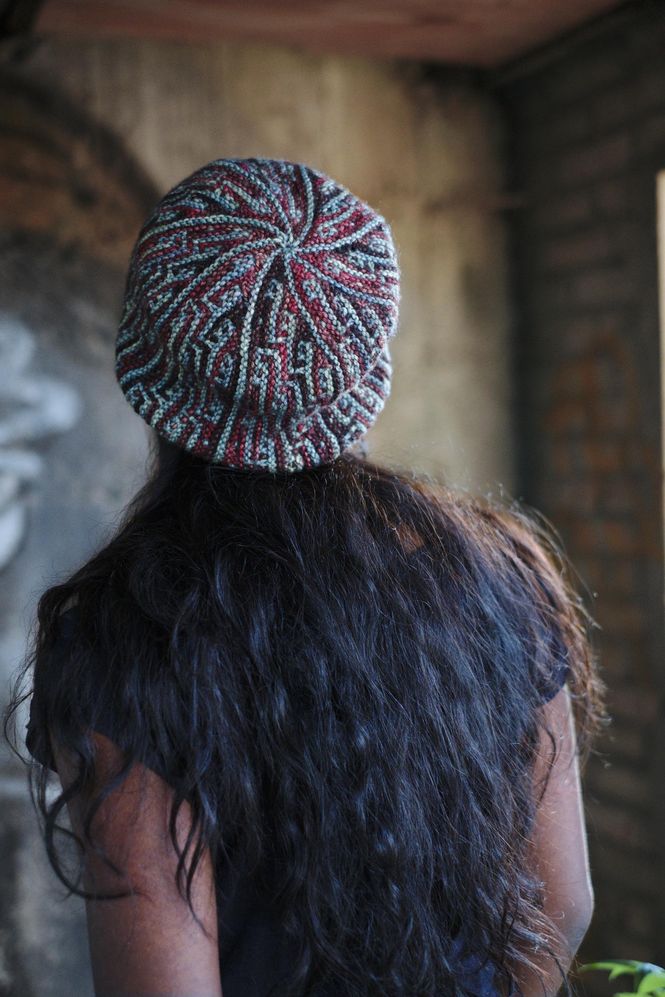 sideways knit mosaic hat knitting pattern for dk weight yarn