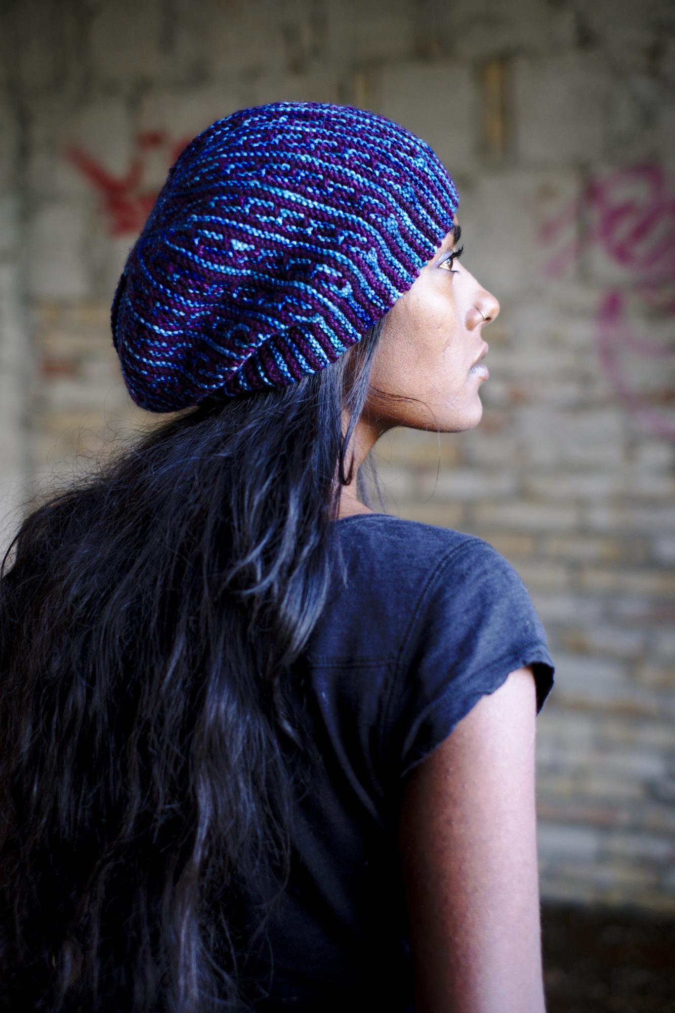 High Rise sideways knit mosaic hat knitting pattern for dk weight yarn