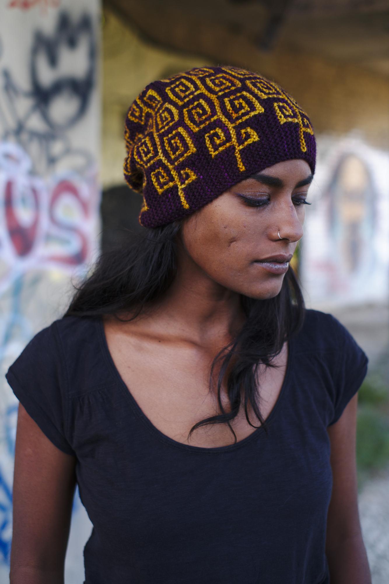 Uprising sideways knit mosaic hat knitting pattern for dk weight yarn