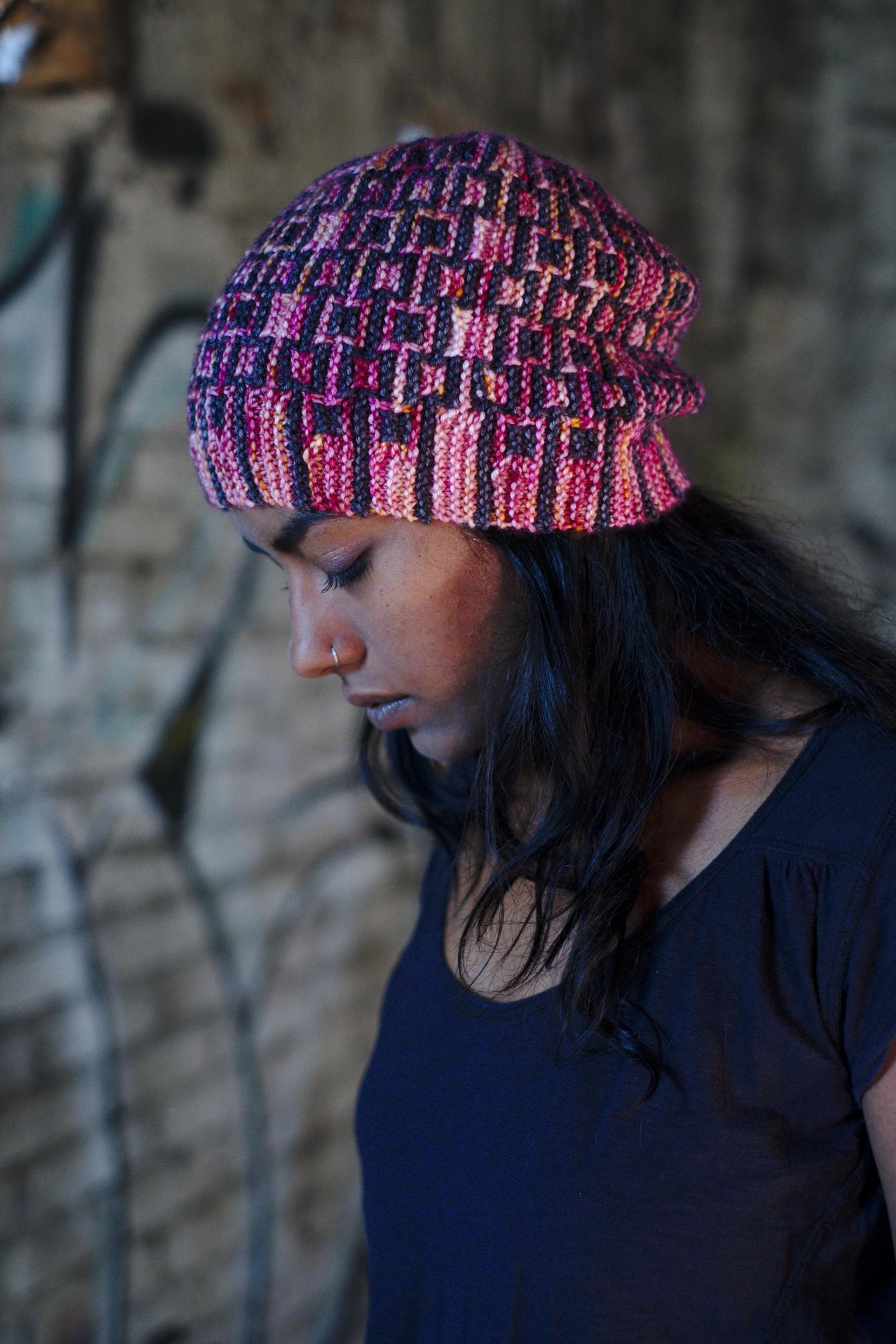 Downtown sideways knit mosaic hat knitting pattern for dk weight yarn