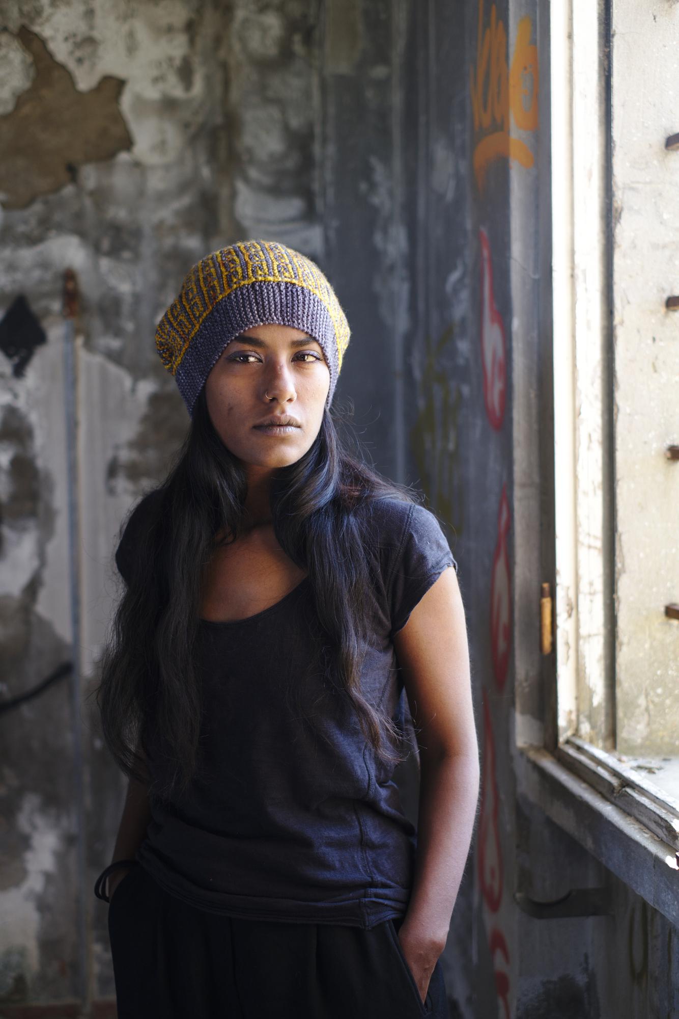 Revolutions sideways knit mosaic hat knitting pattern for dk weight yarn